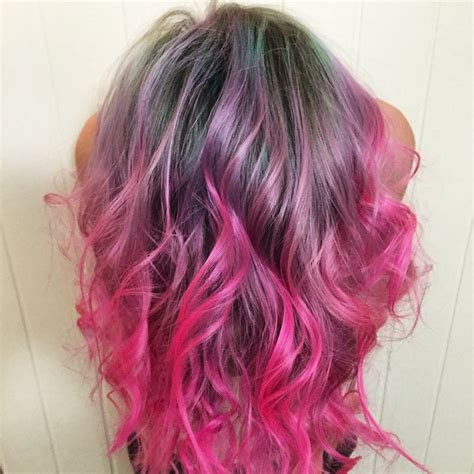 mint roots with purple magenta to neon pink ends ombre