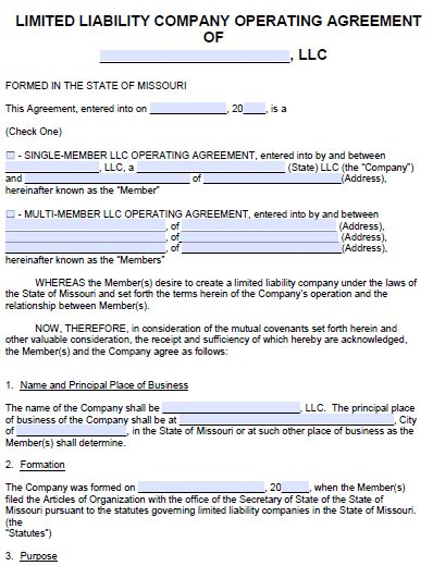 missouri llc operating agreement template  word