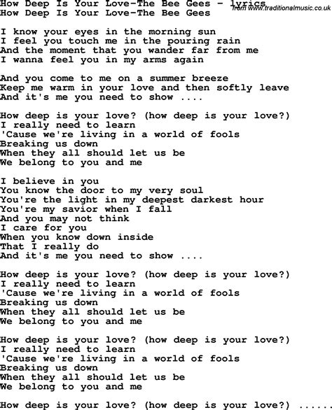 bee gees how deep is your love love song lyrics for how deep is your love the bee gees