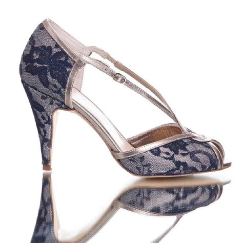Navy Wedding Shoes by Kate Navy Lace Wedding Shoes By