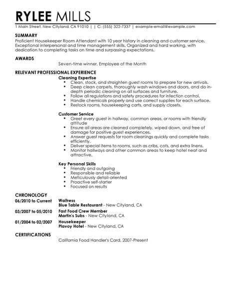 hotel housekeeping attendant resume sle best housekeeper room attendant resume exle livecareer
