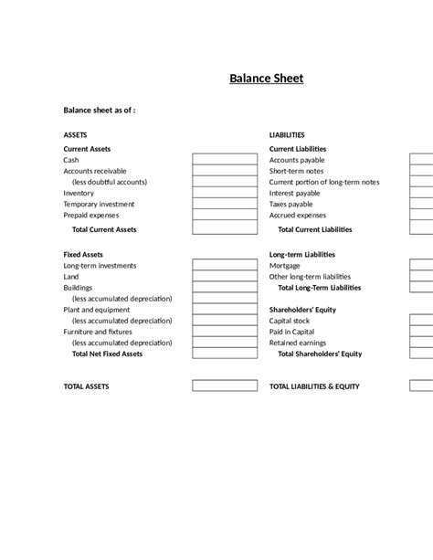 Template For Balance Sheet by 2018 Balance Sheet Template Fillable Printable Pdf