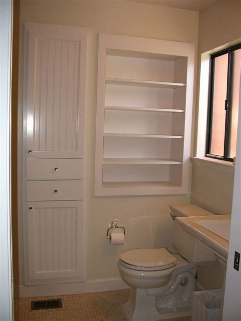 tiny bathroom storage recessed cabinets between the studs i don t know why more