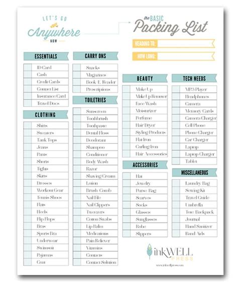 free printable vacation packing list vacation packing checklist