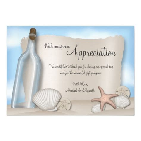 Thank You Gift Card Message - message from a bottle beach thank you card superdazzle custom invitations