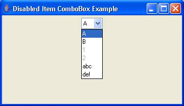 java swing combo box disabled combobox exle combobox 171 swing components 171 java