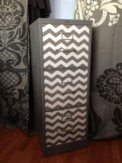 file cabinet decorating ideas file cabinet spray paint and chevron contact paper my