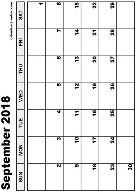 Calendar 2018 Sept September 2018 Calendar