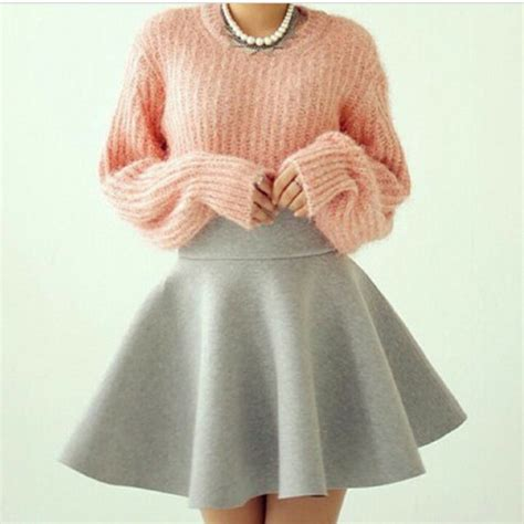 Sweater Skaters 47 skirt skater skirt skater skirt pullover jumper sweater pink fuzzy large sweater