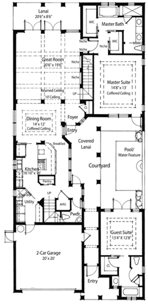 plan w33031zr energy saving courtyard house plan e
