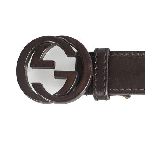 gucci brown leather interlocking g buckle belt my luxury