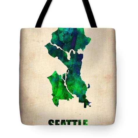 seattle map tote bag seattle watercolor map digital by naxart studio