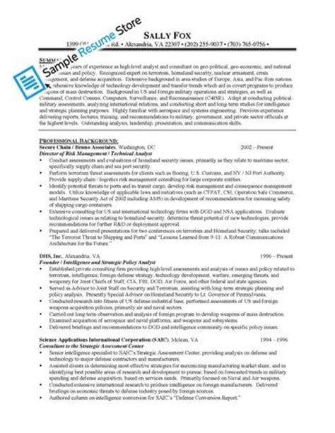 intelligence analyst resume intelligence analyst sle resume sle resume store