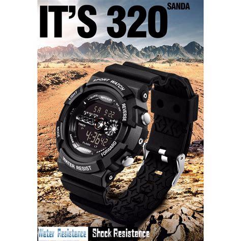 Jam Tangan Sporty Pria Cowok Gst 200 Black Green Pln03 sanda jam tangan sporty pria sd 320 black jakartanotebook