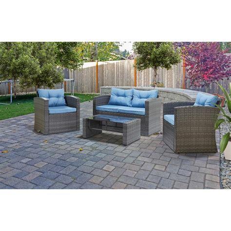 black wicker patio furniture home depot cosco malmo 4 black resin wicker patio conversation