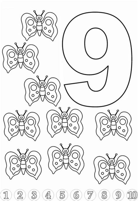 Butterfly For Learn Number 9 Coloring Page Bulk Color Coloring Pages For 9 And Up