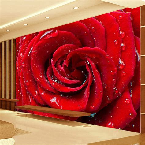 tv in bedroom marriage custom mural wallpaper 3d stereoscopic non woven red rose flowers living marriage room