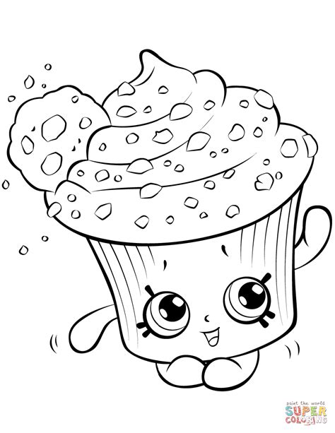 coloring pages of cupcakes and cookies creamy cookie cupcake shopkin coloring page free