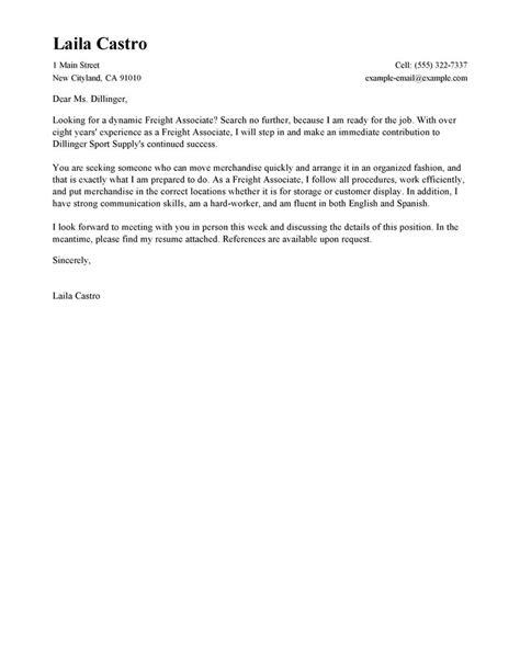 Freight Associate Cover Letter leading professional freight associate cover letter exles resources myperfectcoverletter