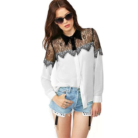 Keira Top Lace Blouse Hijaber black lace white chiffon blouses 2016 splicing sleeve top shirt beautiful