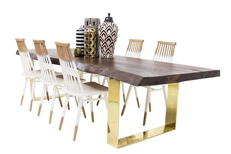 brass dining table walnut eco slab dining table with brass u legs mid