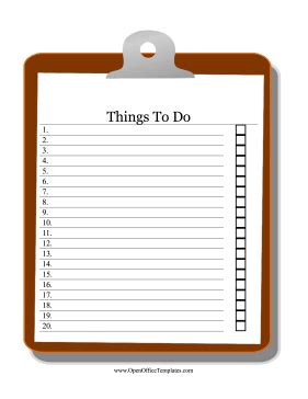 Clipboard To Do List Openoffice Template Open Office Checklist Template