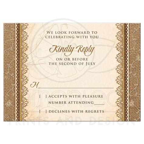 Wedding Rsvp Congratulations by Wedding Rsvp Card Rustic Burlap Lace Wood