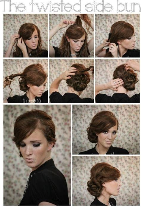 hair tutorial twisted side bun updo hairstyles tutorial popular haircuts