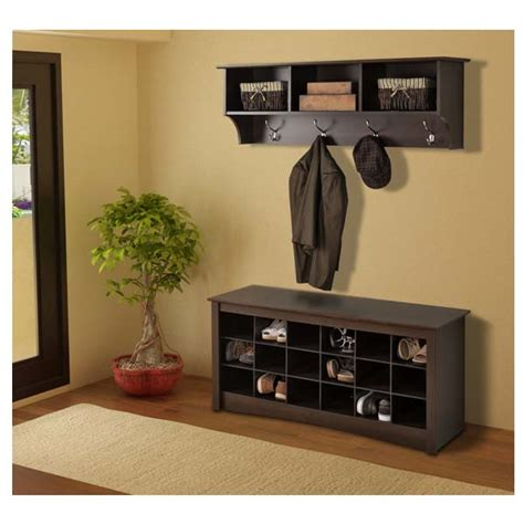 entry shoe storage prepac entryway shoe storage cubbie bench espresso ess 4824