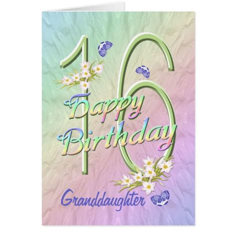 Granddaughter 16th Birthday Cards Granddaughter 16th Birthday Butterfly Garden Card Zazzle