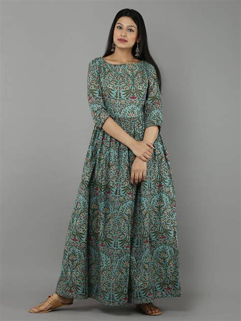 boat neck indian dress green mulmul cotton mughal block printed boat neck cape