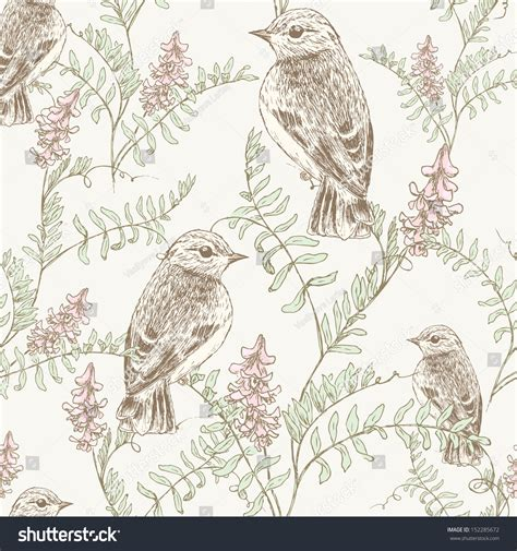 vintage pattern sketch seamless floral sketch pattern bird wild stock vector