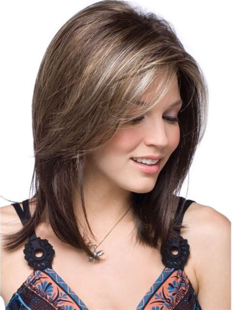 curly layers with side swept bangs medium length layers with side sweep bangs medium length