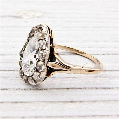 1 42 carat pear shaped antique engagement ring