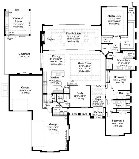 impressive single story luxury house plans 6 modern one home plan carlton sater design collection