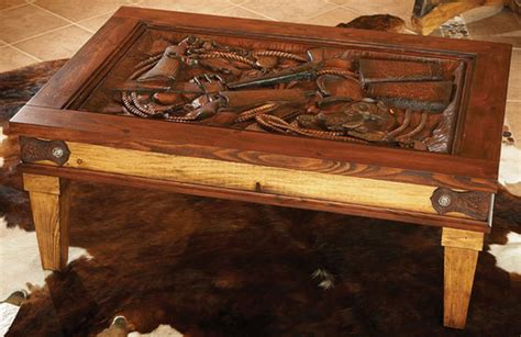 western coffee tables carved western coffee table with glass top