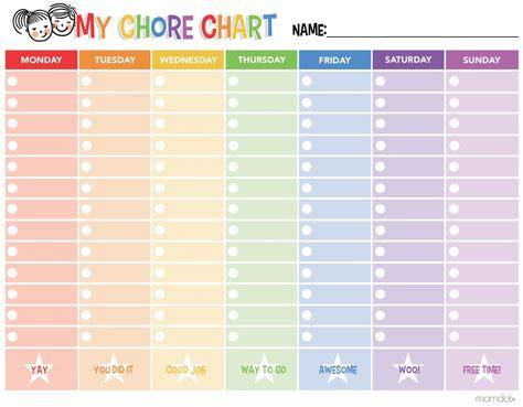 chore calendar template free printable chore chart momdot