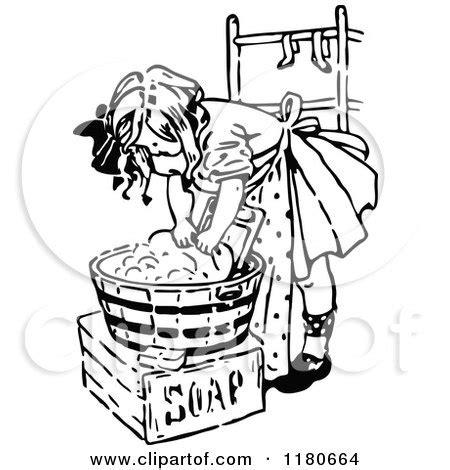 retro vintage black  white girl washing laundry posters