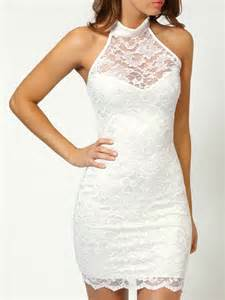 White halter cut away sheer lace backless bodycon dress choies