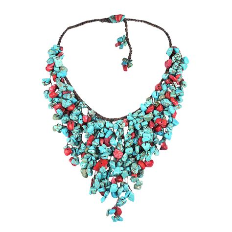 Handmade Bib Necklace - handmade synthetic coral turquoise waterfall bib necklace