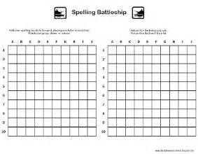 Battleship Board Template by Relentlessly Deceptively Educational Spelling Battleship