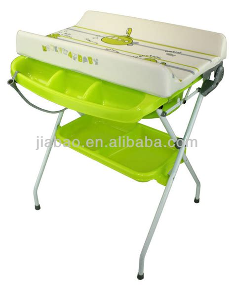 Folded Baby Bath Station With Stand And Mattress En12221 Free Standing Baby Changing Table