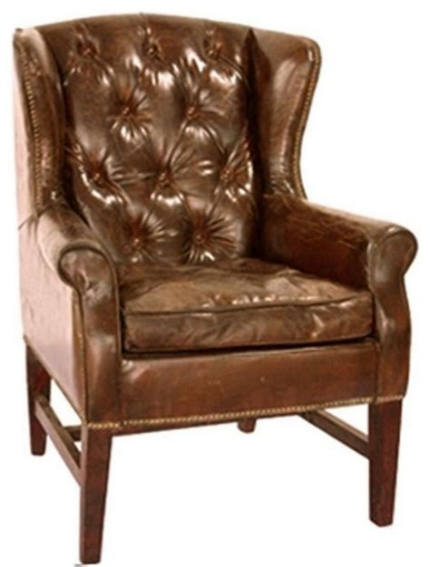 Traditional Leather Armchairs Uk by Leather Tufted Wing Chair Traditional Armchairs Accent Chairs Other Metro By