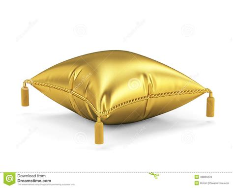 golden pillow isolated on white background stock