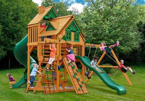 tree house swing sets grand summit i treehouse wooden swing set with natural