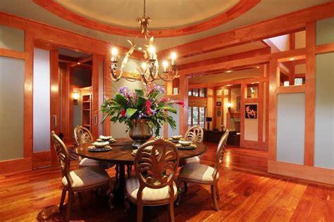 craftsman dining room  built  bookshelf chandelier