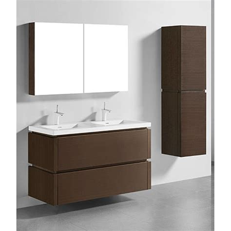 madeli cube  double wall mounted bathroom vanity  integrated basin walnut