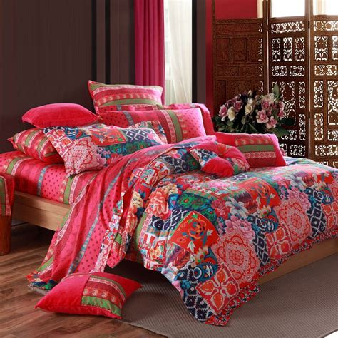 tribal comforter set red blue and green bohemian indian tribal design plaid