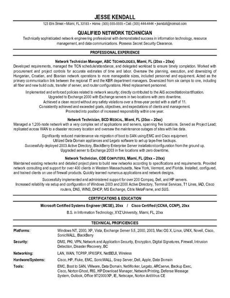 network engineer resume objective exles network technician resume resume ideas
