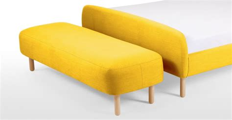 yellow upholstered bench jonah upholstered bench in dandelion yellow made com